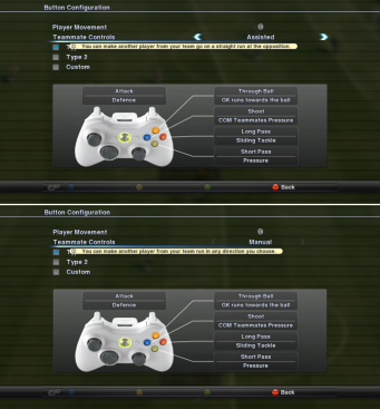 PES Teammate Controls