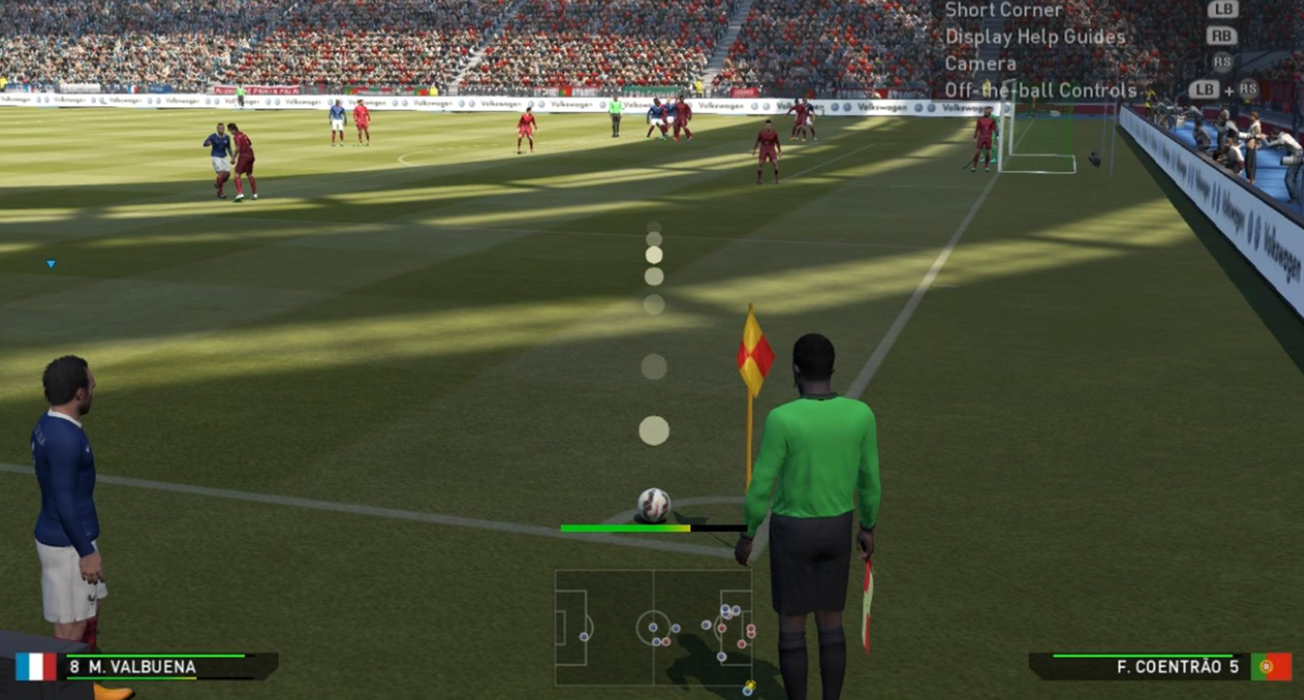 Send a low corner kick into the box to surprise the opponent
