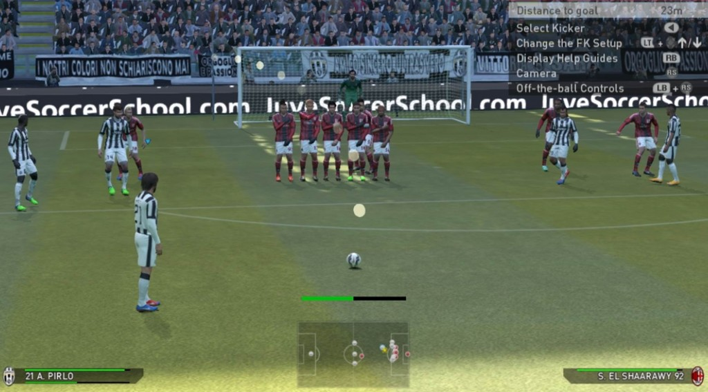 Taking a close range free kick