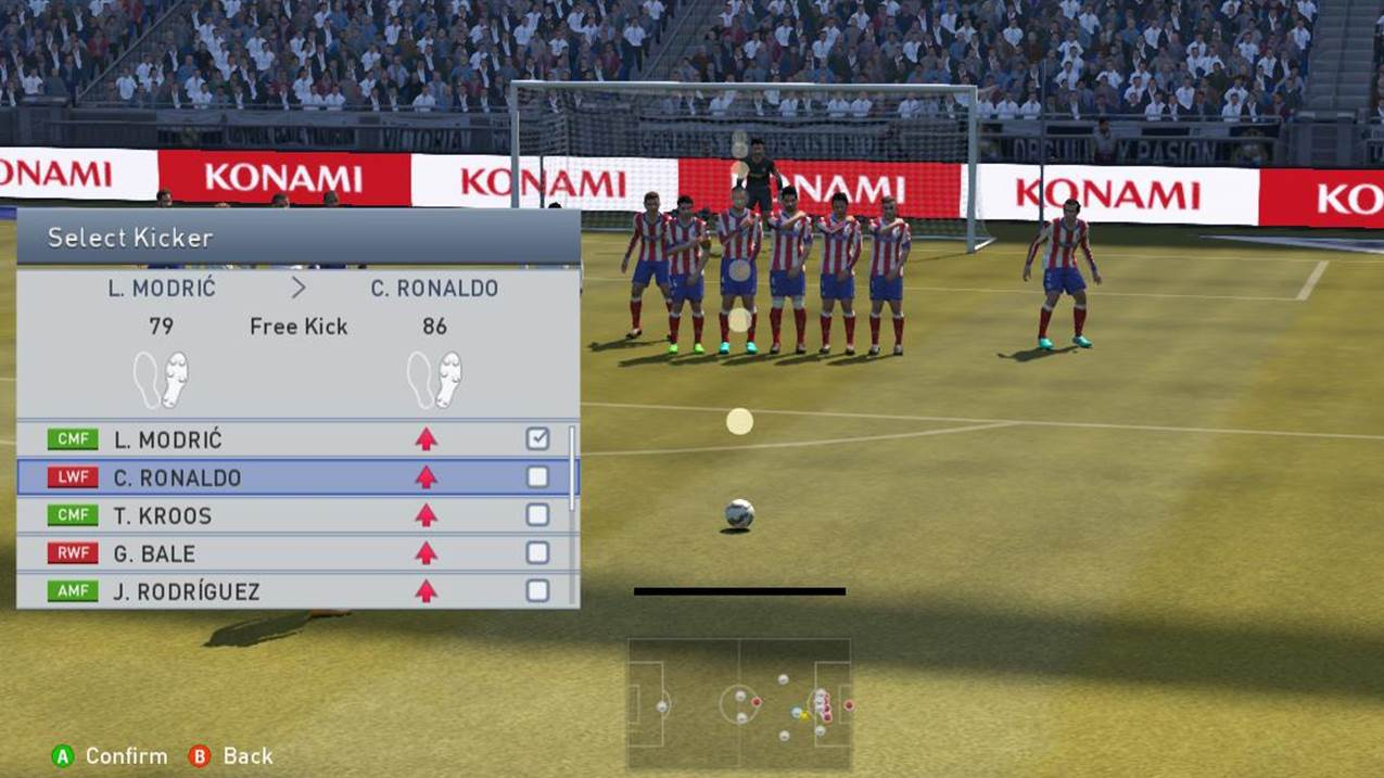 Choosing Ronaldo as the free kick taker as he has a 86 rating