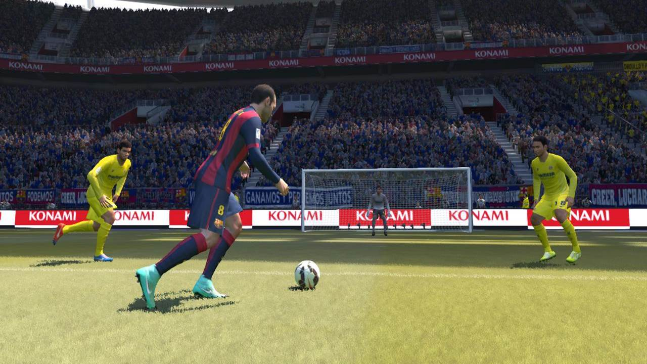 pes push ball into space before shooting iniesta