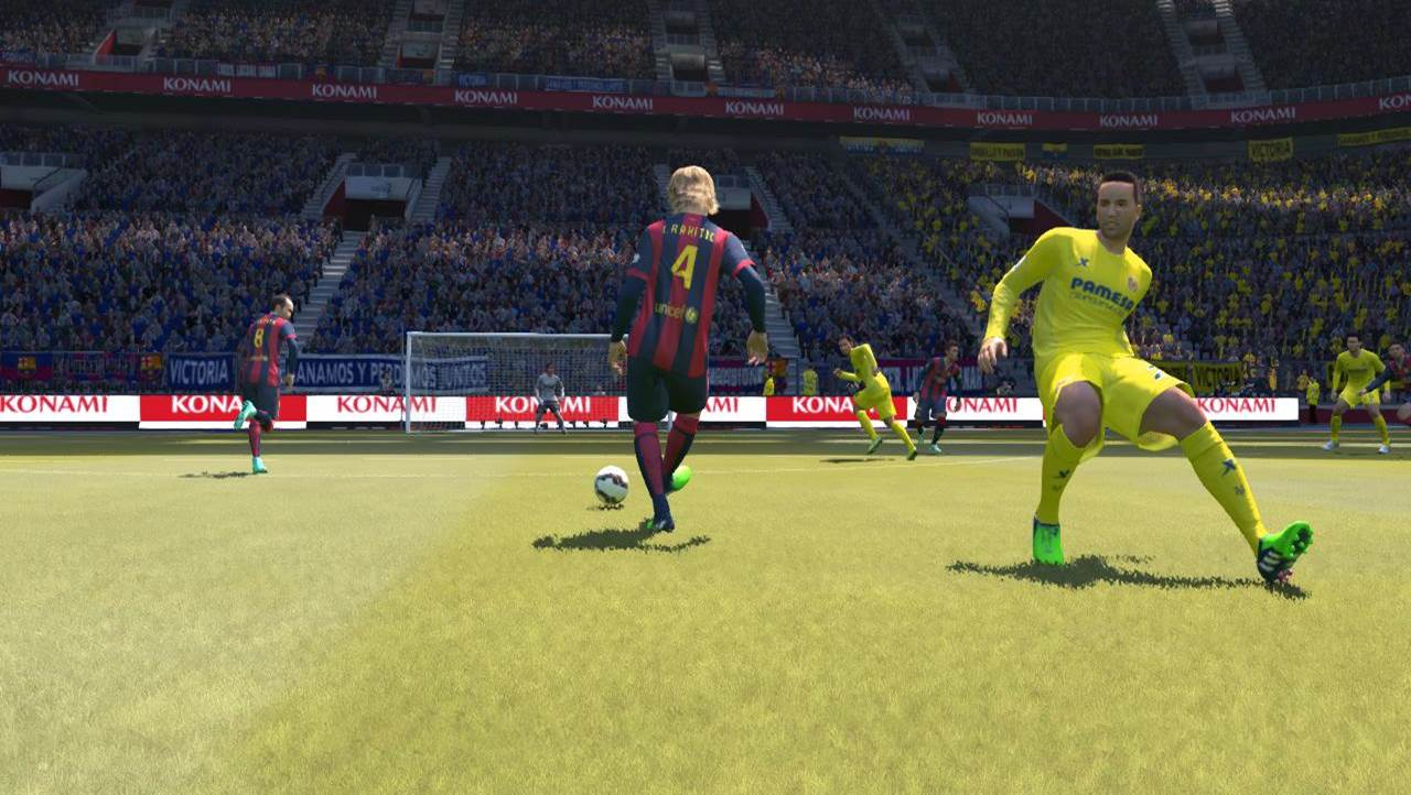 pes through pass rakitic to iniesta